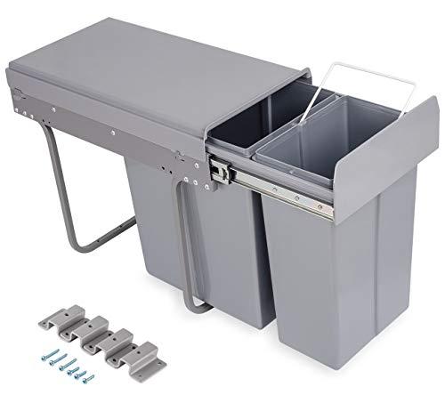 ilauke 30L versteckter Küchenabfalleimer W262* D490* H420 mm, ausziehbarer Mülleimer, mit 2 Fächern zur Mülltrennung, 10L+20L Einbaumülleimer, Deckelheber, Bodenmontage, Ideal für Küche Bad und Büro