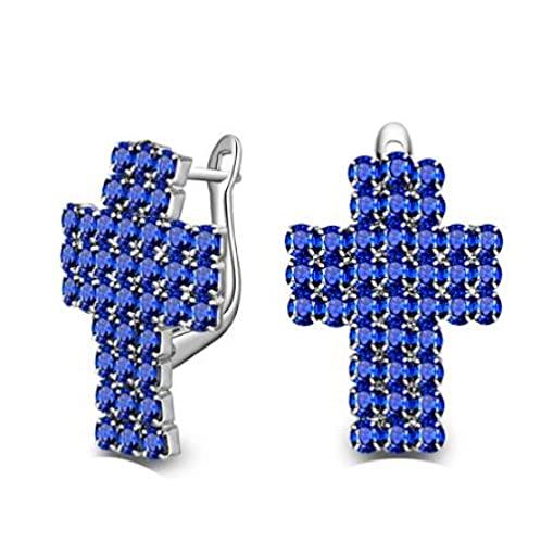 Pendientes de plata esterlina para mujer joyería cruzada de moda con piedras azules de circonita cúbica accesorios para mujer y niña azul