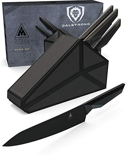 Dalstrong 5-Piece Knife Block Set - Shadow Black Series - Black Titanium Nitride Coated German HC Steel