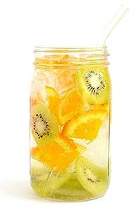 Einmachglas aus Kunststoff, 700 ml, Wiederverwendbarer Strohhalm und Deckel aus Edelstahl, ideal für smoothies und kaltgepresste Säfte