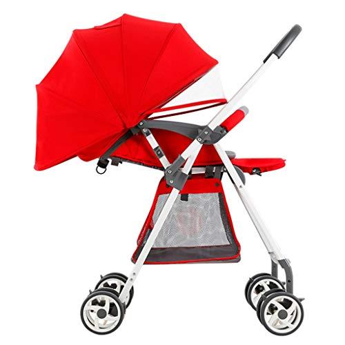 Gute Qualität Kinderwagen Buggys Leichter Kinderwagen, tragbarer, hochauflösender Zweiwege-Kinderwagen mit Einstellbarer Bremsdämpfung Baby Standardkinderwagen (Color : Red)