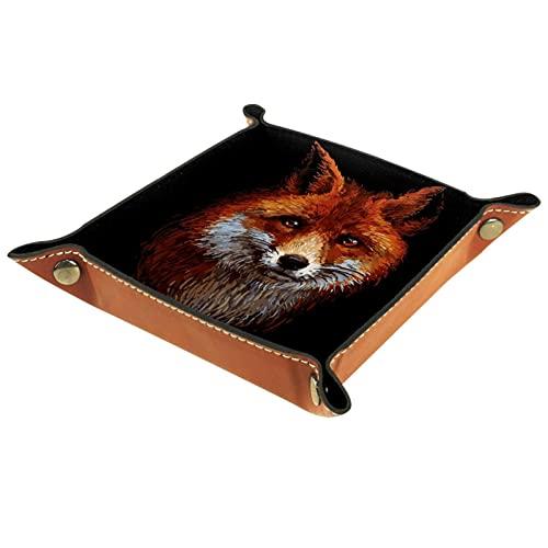 LynnsGraceland Bandeja de Cuero - Organizador - Fox Animal Patern