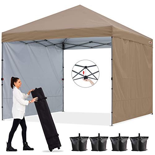 ABCCANOPY 2,5x2,5M Pavillon Outdoor Easy Pop-up-Überdachungszelt mit 2 Seitenwände,Central Lock-Serie,Khaki