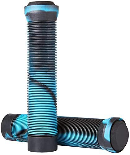 Puños para manillar BMX para scooter de 145 mm Puños suaves antideslizantes sin brida para manillar de scooter acrobáticos PRO barras para bicicleta BMX (azul/negro)