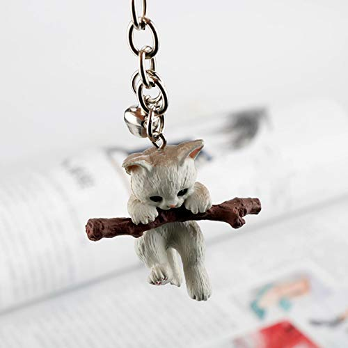 aolongwl Llavero 3D gato llavero lindo llavero para mujer gatito suerte gato llavero llavero llavero titular creativo bolso encanto