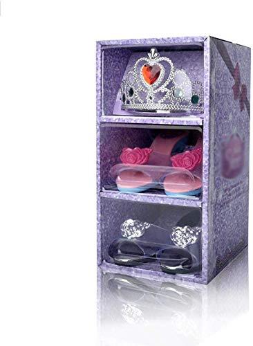 ZYYIN Princess Slipper Shoes & Tiara, Rollenspiele Princess Dress Up Spielschuhe und Juwelen Boutique-Set, Krone und High Heels für Mädchen im Alter von 3 bis 14 Jahren (A)