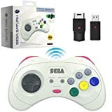 Retro-Bit Official Sega Saturn 2.4 GHz Wireless Controller 8-Button Arcade Pad for Sega Saturn, Sega Genesis Mini, Switch, PS3, PC, Mac - Includes 2 Receivers & Storage Case (White)