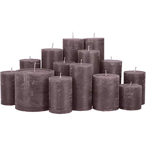 Kloster Design Kerzenwelt RUSIK Stumpenkerzen ** KERZENSET ** durchgefärbt von Kerzenwelt, 1. Wahl, Kerzenpaket Kerzenset (grau)