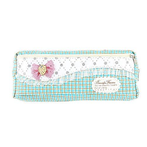 Drawihi Pencil Case, Plaid Pattern Small Bowknot Canvas Suitable for Girls to Store Stationery Pencils and School Supplies Green
