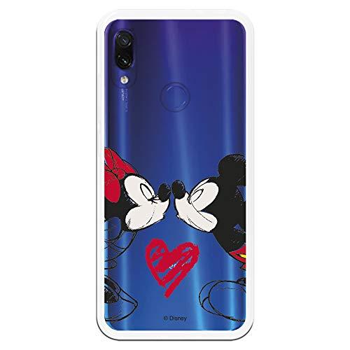 Carcasa Oficial de Disney Mickey Y Minnie Beso Clear para Xiaomi Redmi Note 7 - La Casa de Las Carcasas