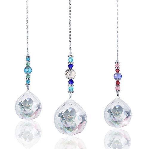 Herefun Colgante Prisma Cristal, 3Piezas Cristales para Colgar en El Arco Iris Colgante Prisma de Bolas de Cristal Esfera de Cristal Crystal Prism Cristal Prisma Colgante para Jardín Colgar en Casa(A)