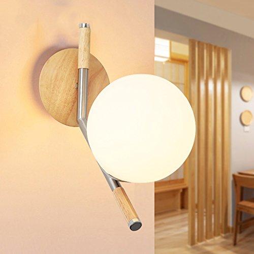Met Love Moderne Minimaliste Lampe Murale Creative Boule de Bois Lampe de Chevet Salle à Manger Chambre Salon Mur Allée Lumières E27