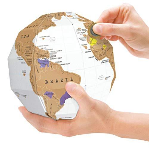 3D Globus Scratch Map - personalisierte Globus Weltkarte - Scratch Off Map - Spaß & Bunte Scratch Poster Sphere - ideal für Klassenzimmer - perfekte Reisegeschenk - White & Gold