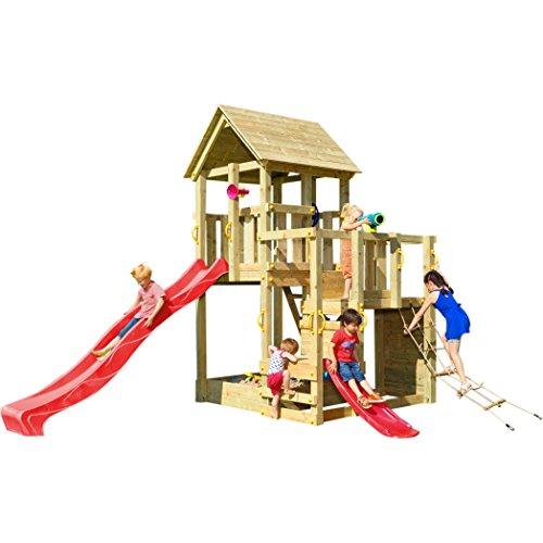 Blue Rabbit Spielturm Penthouse mit Rutsche 2,90 m + Babyrutsche + Kletternetz Farbe Rot