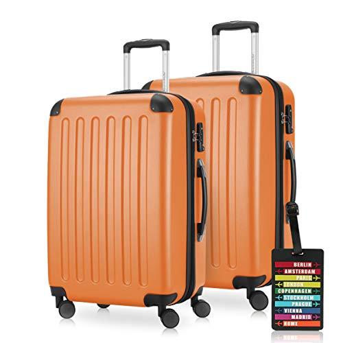 HAUPTSTADTKOFFER - Spree - Koffer-Set 2 x Mittelgroßer Hartschalenkoffer Rollkoffer 65 cm, 74 Liter + Kofferanhänger, erweiterbarer Reisekoffer, 4 Rollen,...