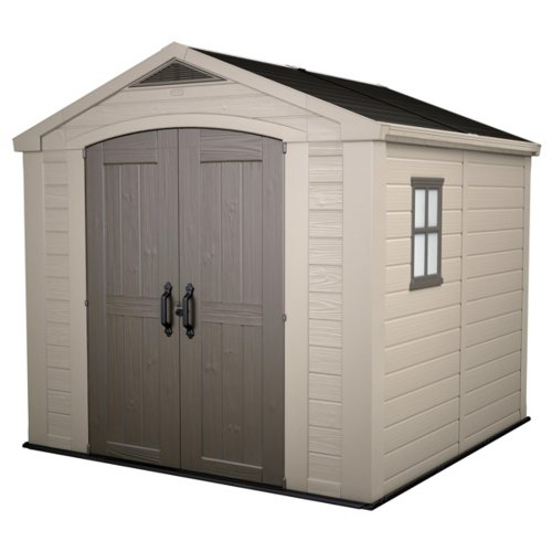 Keter Factor Outdoor Plastic Garden Storage Shed, Beige, 8 x 8 ft
