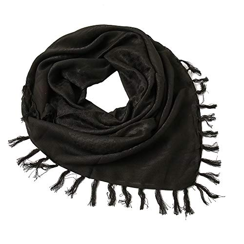 Yeieeo Cotton Shemagh Tactical Desert Scarf Wrap Middle Eastern Scarf for Men (Black)