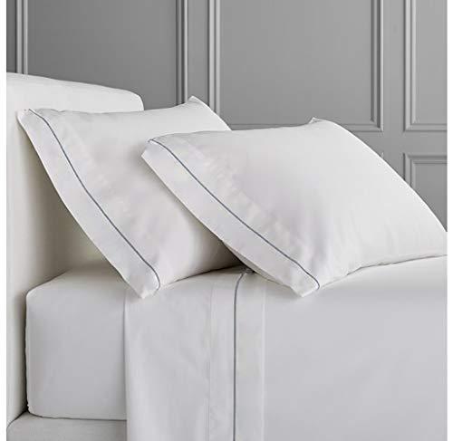 Luxurious Collections Bettlaken + Spannbetttuch + 2 Kissenbezüge, passend für bis zu 25,4 cm Tiefe Taschen, ägyptische Qualität, Baumwolle, Fadenzahl 1000, alle Größen und Farben King Silbergrau