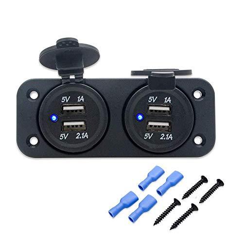 HugeAuto - Adaptador de Mechero de Coche con 4 Enchufes para Encendedor de Cigarrillos, Cargador USB DC12 V, Divisor de Corriente Múltiple y Más de 4 Puertos USB