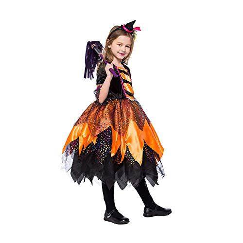 Disfraces para Niños Disfraces de Halloween para niños Ropa Infantil Femenina De Halloween Vestido De Disfraces Disfraz De Brujita Vestir (Color : Orange, Size : L)