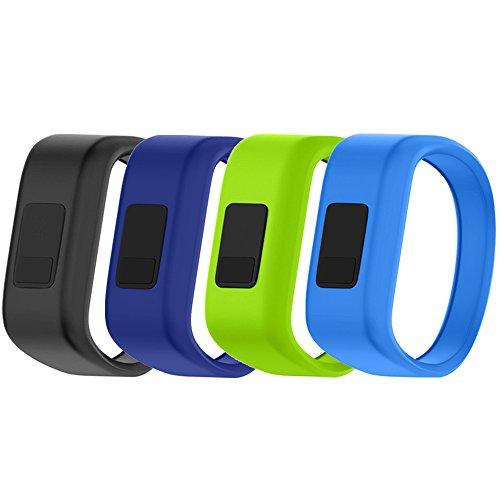 Band for Garmin Vivofit Jr / Vivofit Jr. 2, Soft Silicone Replacement Watch Band Strap for Garmin Vivofit Jr / Vivofit Jr. 2 Activity Tracker, Small, Large (4PCS Bands-Boy, Large: 6.6)
