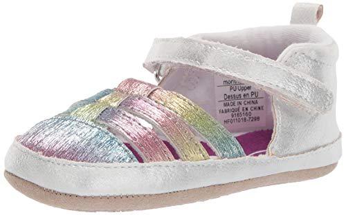 Ro + Me by Robeez Girls' Sandal Crib Shoe, Rainbow, 0-6 Months