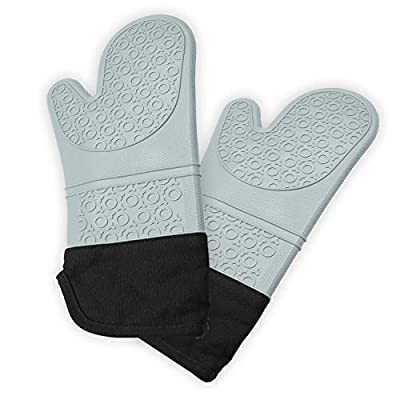 easy to use Extra Long Professional Silicone Oven Mitt – Inner Layer Plus Cotton – 1 Pair – Cooking Gloves for BBQ, Grilling, Baking, Grey