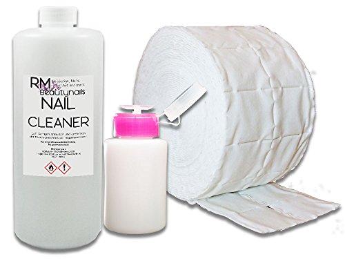 RM Beautynails Kit pour stylisme d'ongle contenant 1000 ml de dégraissant, 500 cotons de cellulose, un flacon pompe (pack économique)