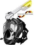 Khroom® CO2 sichere Schnorchelmaske Vollmaske | Original aus YouTube | Seaview 180° (Schwarz Version 3.0)