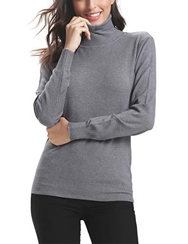 Abollria Elegante Suéter para Mujer Jerséy de Cuello Alto Clásico Pullover de Punto Basic Prendas de Punto Sweater Manga Larga para Otoño Invierno