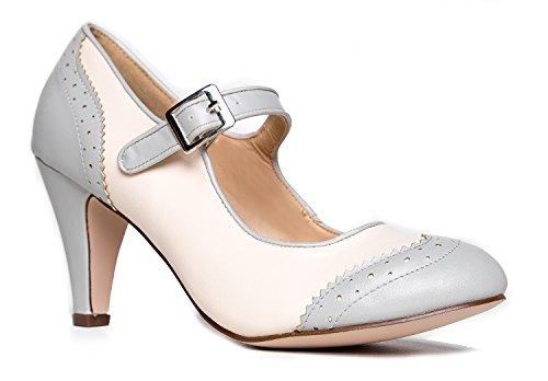 J. Adams Kym Mary Jane Oxford Heels - Round Toe Rockabilly Pumps Shoes Women Grey Cream