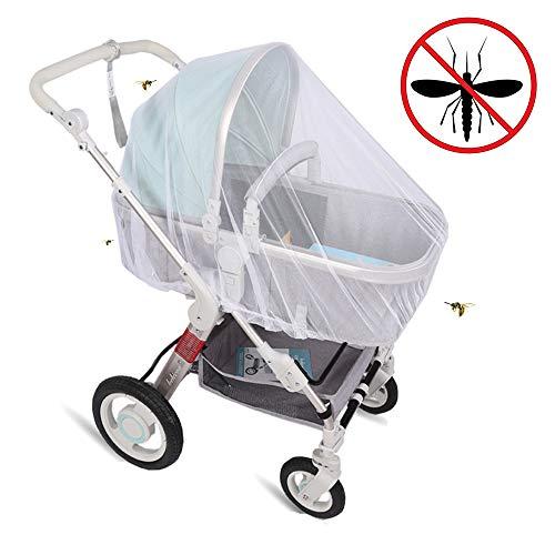 Universal Insektenschutz/Mückennetz für Kinderwagen, Sportwagen, Jogger & Reisebett - feinmaschiges Moskitonetz mit Gummizug - Weiß