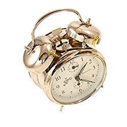 Sternreiter Double Bell Mechanical Wind Alarm Clock - Silver