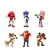Sonic Cake Topper Pastel Decoración Suministros 6Pcs Sonic Figures Toy Sonic The Hedgehog Juguetes Muñeca Hecha a Mano Muñeca Decoración para niños Animales Juguetes Set