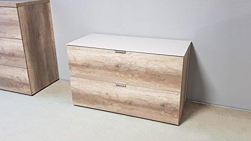 Möbel Akut Kommode Cleo 13 Wildeiche mit Sandglasplatte von CS Schmal auch als TV-Board geeignet