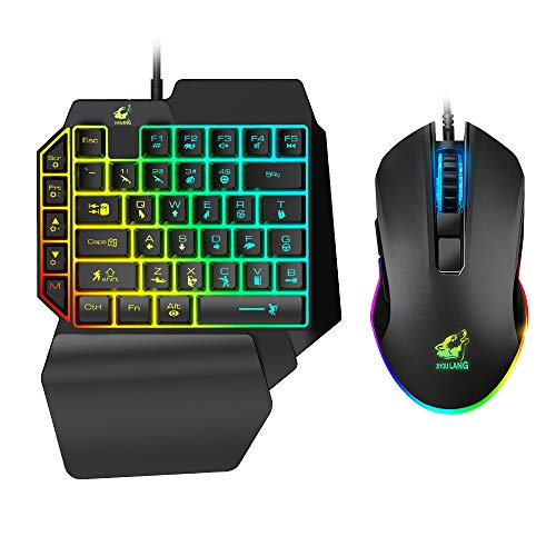 One Hand Gaming Keyboard and Mouse Combo, 39 Keys PUBG Keycap Version Wired Mechanical Feel Rainbow Backlit Half Keyboard, Support Wrist Rest, USB Wired Gaming Mouse for Gaming
