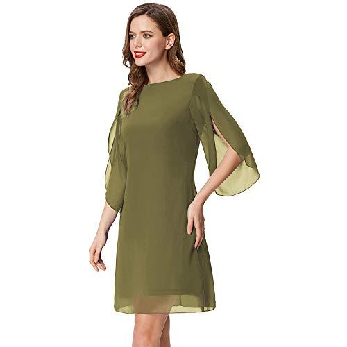 Vestido Mujer Blusa Gasa Manga 3/4 Casual Oficina Cuello Redondo Elegante Vestido Top Verde Oliva L Cl011125-2