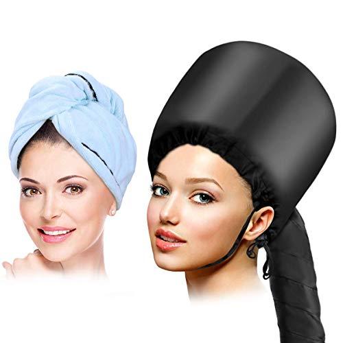 Casque Sèche Cheveux, Casque Sèche, Sèche de Capot pour le Style de Séchage Curling Conditionnant en Profondeur avec Serviette Bleue