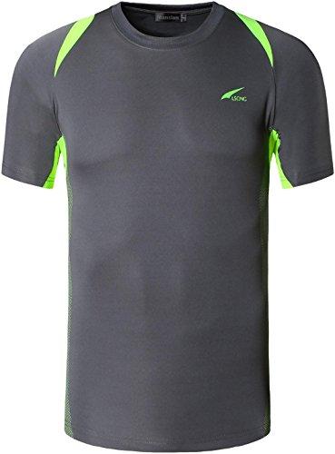 jeansian Homme T-Shirts de Sport Manches Courtes Men Fitness Short Sleeves Sport T-Shirt Tops MFN_LSL601 Gray XL