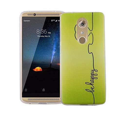 König Design Handy-Hülle kompatibel mit ZTE Axon 7 Mini Silikon Hülle Hülle Sturzsichere Back-Cover Handyhülle - Be Happy Design Grün