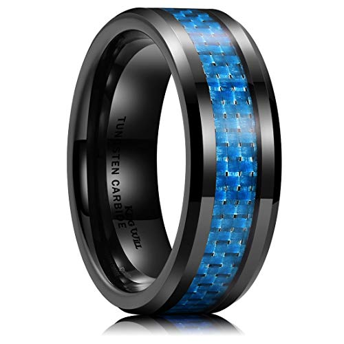 King Will Mens 8mm Tungsten Ring Inlay with Blue Carbon Fibre Black Coated Wedding Band Polished Finish Comfort Fit 11.5