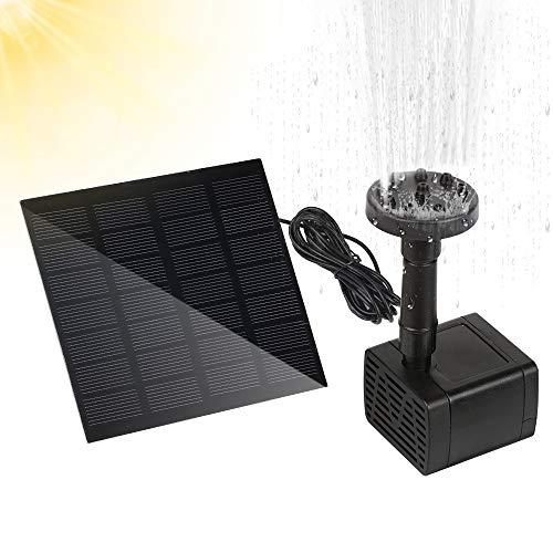 Solar Springbrunnen, Solar Teichpumpe Outdoor Wasserpumpe, 2021 Neu Solar Fontäne Pumpe mit Solar Panel und 6 Wassersprühzubehör, Solar Springbrunnen für Gartenteich, Fisch-Behälter, Garten, Vogelbad