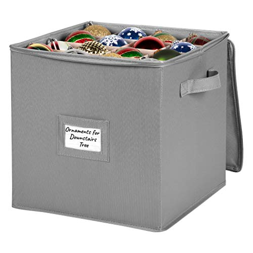 """Christmas Ornament Storage Container Box with Dividers – Heavy Duty Durable 600D Canvas & Carry Handles - Bin Store up to 64-3"""" Holiday Xmas Ornaments, Dual Zipper Closure"""