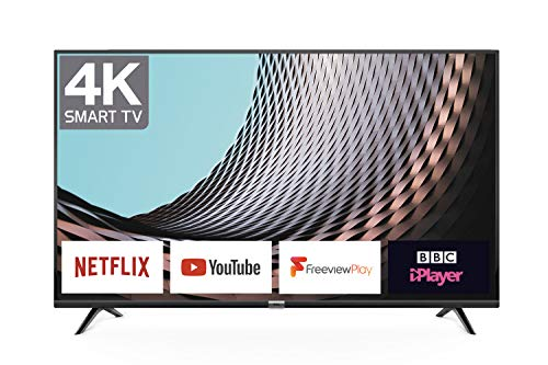 TCL 43DP628 43-Inch 4K UHD Smart TV - HDR10 / Freeview Play / BBC iPlayer / Netflix 4K / YouTube 4K, Work with Alexa, Wi-Fi ,2*HDMI, 1*USB Port [Energy Class A] Black