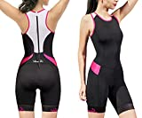 Women's Triathlon-Suit One-Piece Sleeveless Tri-Suit - Padded Quick-Drying Slimming for Running Swimming Cycling