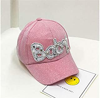 Baby Decoration Hat Kids Alphabet Solid Color Baseball Cap Children Anti-UV Sun Protection Hat Sun Visor for Outdoor Cute Cap (Color : Pink, Size : 48-52cm)