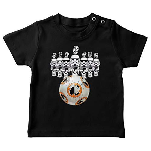 T-Shirt bébé Noir Parodie Star Wars - BB-8 Vs Les Stormtroopers - BB Bowling. (T-Shirt de qualité Premium de Taille 24 Mois - imprimé en France)