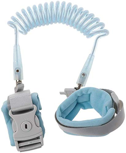 Anti Lost Wrist Link Add Key Lock Toddler Leash Baby Walker Safety Belt Wristband Walking Strap Rope Adjustable Harness (Blue)