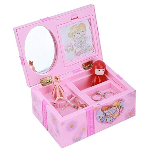 Caja de música rosa para chicas con diseño de bailarina de Alicia en el país de las maravillas, caja de joyería para niñas regalo C -18 cm.