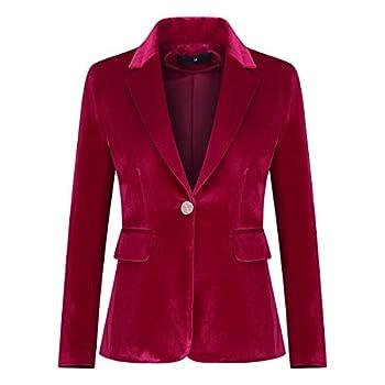 Women s Velvet 1 Button Blazer Jacket Office Work Suit Jacket Party Dress Coat Red